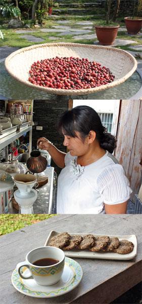 (上圖)最自然的日曬咖啡豆子;(中圖) 以溫和穩定的手勁,為來客手沖香醇的咖啡;(下圖)紅藜燕麥手工脆餅與香醇咖啡堪稱絕配。(圖/馬千惠 攝)