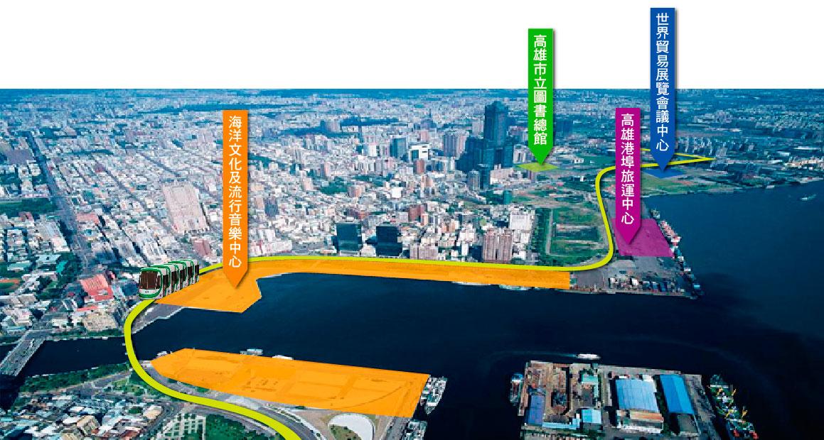 高雄水岸輕軌串聯亞洲新灣區數項重大建設。(空照圖∕高雄市政府都市發展局 提供)