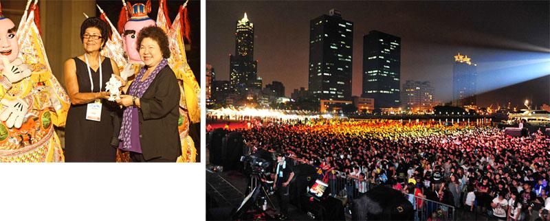 亞太城市高峰會有具地方特色的電音三太子演出,連伴手禮也是白瓷三太子;在光榮碼頭舉辦的APCS高雄之夜現場熱力四射。(圖∕鮑忠暉 攝)