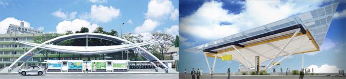 小港(左)與鳳山兩個轉運站即將完工。(模擬圖∕高雄市政府交通局 提供)