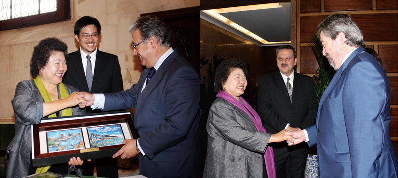 陳菊市長拜會薩拉戈薩市貝攸契市長(左圖)與塞維爾市索伊多市長(右圖)。Mayor Chen Chu meeting with Juan Alberto Belloch Julbe, Mayor of Zaragoza (left) and Juan Ignacio Zoido, Mayor of Seville (right).