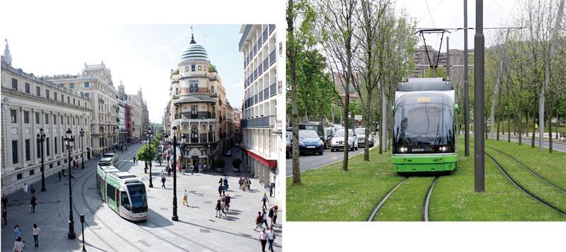 參觀塞維爾市(左圖)與畢爾包市(上圖)輕軌 Light rail in Seville (left) and Bilbao (above)