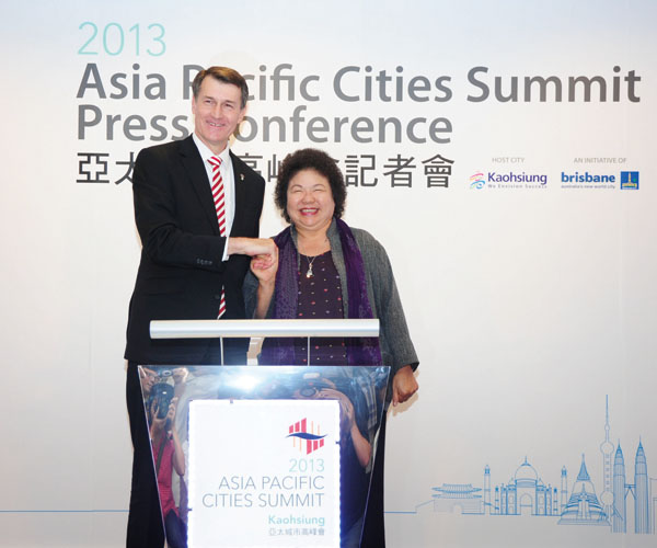 陳菊市長歡迎全球城市參加高雄舉辦的APCS Mayor Chen Chu welcomes APCS cities to Kaohsiung.