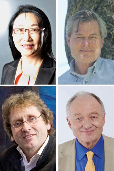 王雪紅 Cher Wang(左上)  剛特.鮑利Gunter Pauli(右上)  麥克.布朗嘉Michael Braungart(左下)  肯.李文斯頓Ken Livingstone(右下)