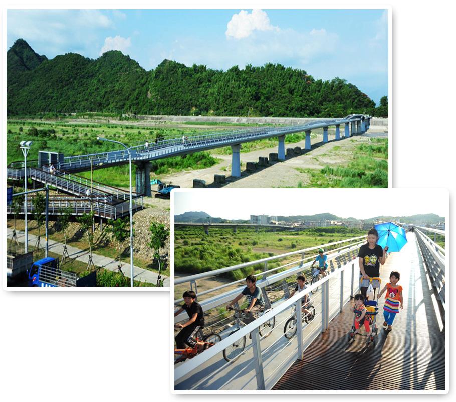 完工後的旗山地景橋兼具社區通學道及自行車道的功能。(圖∕鮑忠暉 攝)