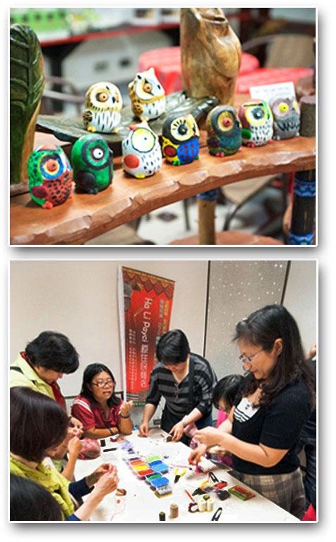原住民商店擺設許多原住民手工藝作品,還設立DIY體驗區讓民眾參與。(圖∕李士豪 攝)