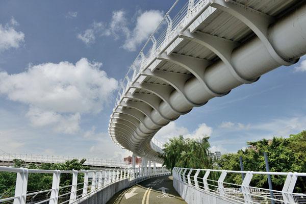 從翠華路自行車橋宛如龍骨的結構 Cueihua Road Bike Bridge's joist structure
