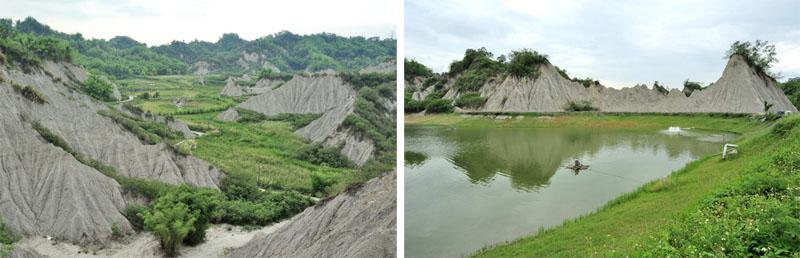 裸露的山脊倒映在池潭水面 Reflections of exposed mudstone ridges can be seen in fish ponds.