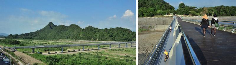 連結老街與旗尾山的旗山地景橋,已成為民眾喜愛的休憩景點。(圖∕鮑忠暉  攝)