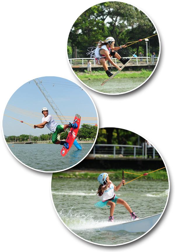 蓮潭滑水主題樂園提供教練教學與安全輔具租借,親子皆可安全共遊。(圖/鮑忠暉、蓮潭滑水主題樂園 Lotus Wake Park 提供)