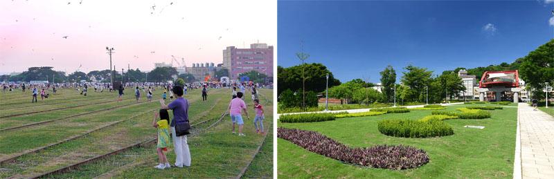 市府將高雄港站百年鐵道規劃為文化園區,並將公園路段闢建綠廊,現已成為民眾喜歡的休憩空間。(圖∕鮑忠暉、李昀諭 攝)