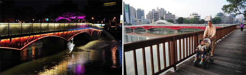 新金獅橋日夜景觀宜人,成為民眾的宜居休憩空間。(圖∕鮑忠暉 攝)