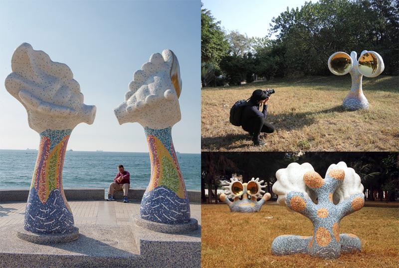 旗津海岸與防風林裡隱藏許多小型的「黃金海珍珠」系列作品。(圖∕高志宏 攝‧張筧 攝)