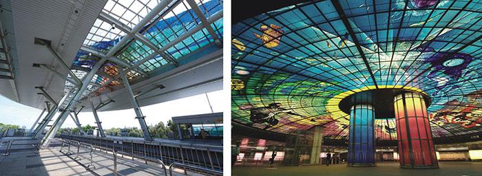 """世運站「空中的雨林」The public art work Floating Rainforest at World Games Station高捷美麗島站「光之穹頂」The glass art installation """"The Dome of Light"""" at Formosa Boulevard Station"""