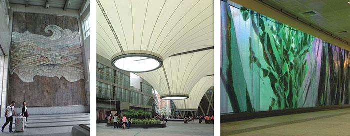 """位於橋頭火車站大廳的「天工開物」""""Heavenly Creation"""" is on display at Ciaotou Station大東藝術文化中心Dadong Arts Center高雄國際機場內的「凝聚的綠寶石」玻璃雕塑作品The set of sculpted glass walls titled """"Emerald Laminata"""" at Kaohsiung International Airport Station"""