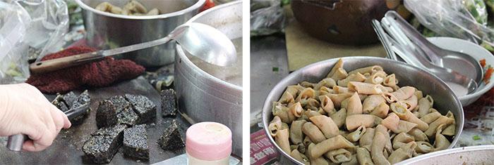 豬血湯融合許多豐富食材而成 Pig-blood soup consists of many ingredients.