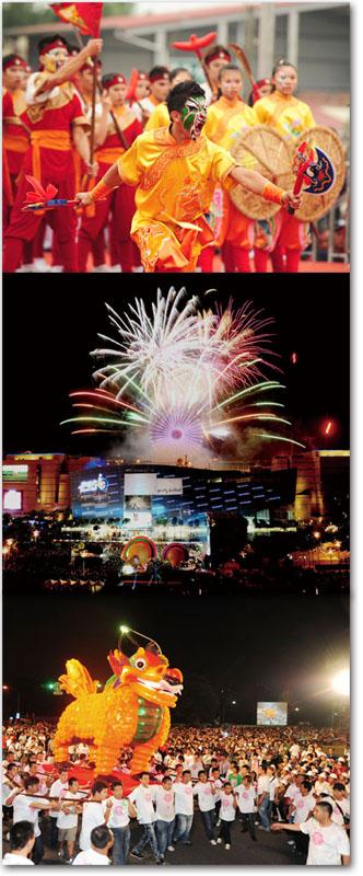 內門宋江陣(上)Neimen Song Jiang Battle Array.跨年晚會(中)Kaohsiung New Year's Eve Party.左營萬年季(下)Zuoying Folklore Festival.