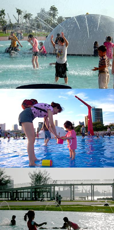 星光水岸公園廣闊水池,是小朋友盡情玩樂的水上樂園。(圖/ 正爸爸、sabrina 提供)