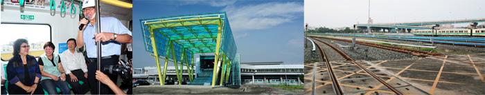 陳菊市長視察即將於今年底通車的高雄捷運R24南岡山站,出入口雨庇的現代感外觀令人驚艷。(圖/鮑忠暉、施偉哲 提供)
